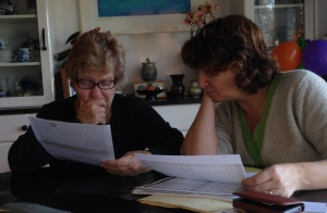 Mom and I looking over some information I found online.